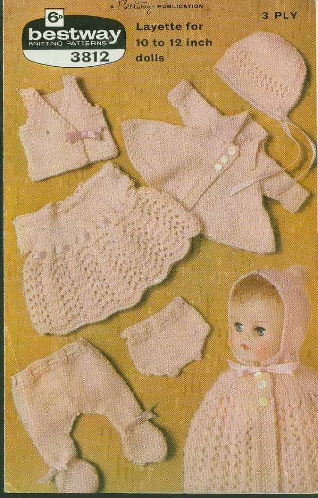 """Vintage Knitting pattern for dolls 6 piece outfit 10 -12"""" dolls. Bestway 3812. P"""