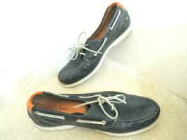 Mens Boat Shoes Size 11 M Navy Peebled Leather Slip On COLE HAAN NikeAir... - $34.99