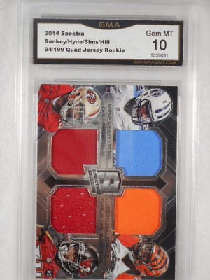 2014 Spectra 94/199 Sankey/hyde/sims/Hill Quad Relic Rookie GMA Graded Gem MT 10