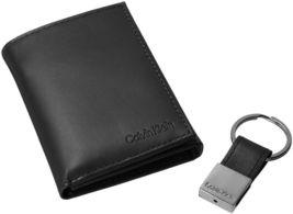 Calvin Klein Ck Men's Leather Trifold Wallet Key Fob Set Rfid 79027