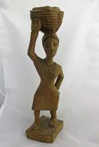 Vintage African Hand Carved Woman with Basket Figurine Primitive Signed - $22.72