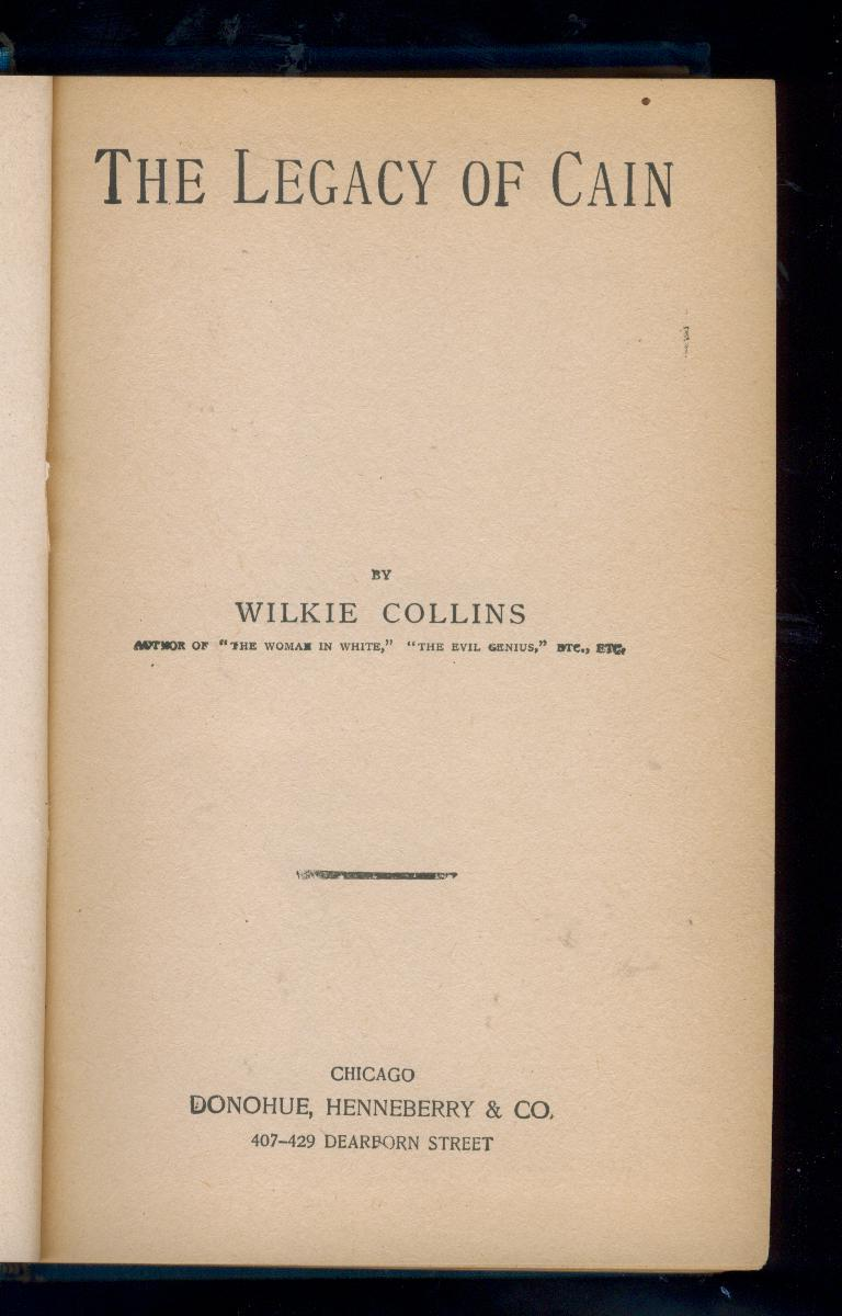 Wilkie Collins - LEGACY OF CAIN -  1899 - early printing