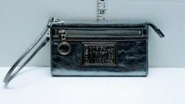 EUC Coach Poppy Clutch Large Wristlet/Small Handbag, Metallic Silver Lea... - $45.99