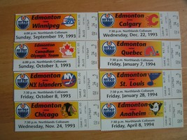 NHL 1993-94 Edmonton Oilers Northlands Coliseum Ticket Stubs  $7.95 Each - $7.66