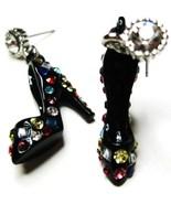 Stunning 3D CZ Black Stiletto High Heel Shoe Earrings EA29 - $12.99
