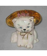 "Neat Vintage 5 1/2"" Ceramic CAT Figurine With Hat - $28.84"
