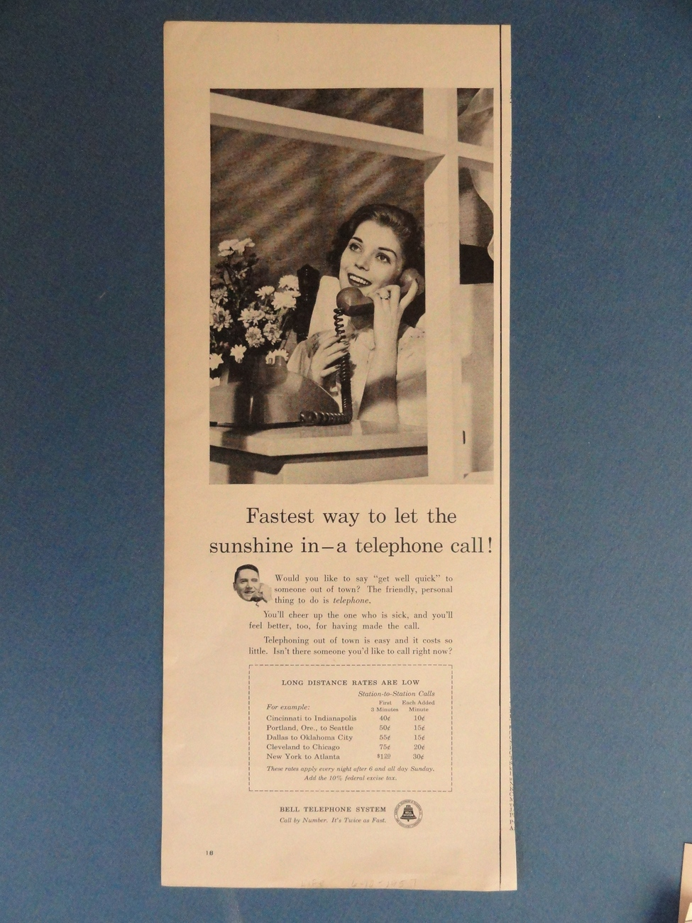Bell Telephone System (woman on phone) 1957 magazine print A Bonanza