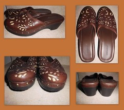 DOCKERS Brown Leather w/Inlay Design Slip On Clogs Mules Shoes Sz 9M Wom... - $26.72