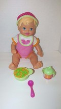Fisher Price Baby Doll Little Mommy pink blonde watermelon outfit hat cu... - $19.79