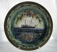 Charger Plate Mediterranean Ship Made in Greece Artist Signed Hand Paint... - $59.50