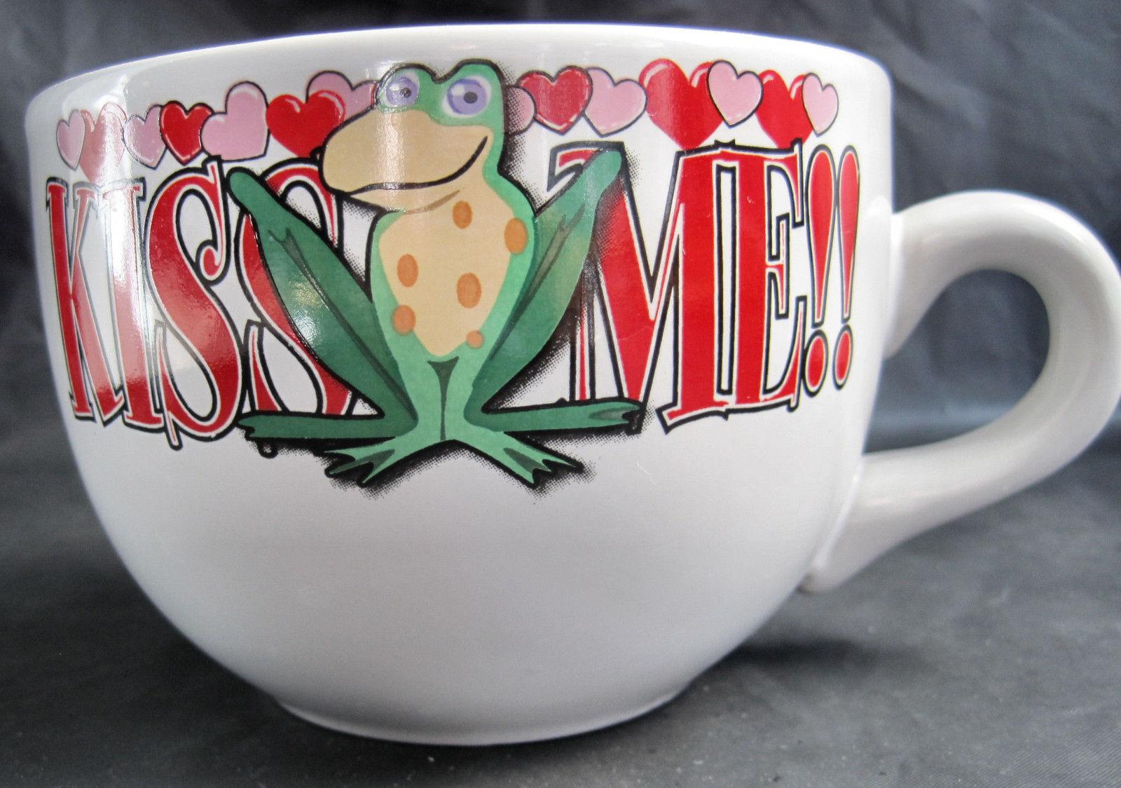 Kiss Me Frog Valentine Hearts Coffee Latte Tea Drinking Cup Mug Large