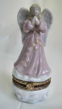 "Hinged Ceramic Trinket Ring Box Lovely Sweet Angel Stars Vintage  3.5"" image 1"
