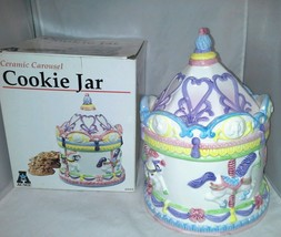 NIB Ceramic Carousel Cookie Jar Acme 1994 Colorful New Horses Elephant L... - $31.19