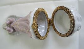 "Hinged Ceramic Trinket Ring Box Lovely Sweet Angel Stars Vintage  3.5"" image 5"