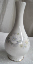 "England Bud Vase Fine Delicate Bone China Pale Blues Floral 6.5"" Tall image 1"