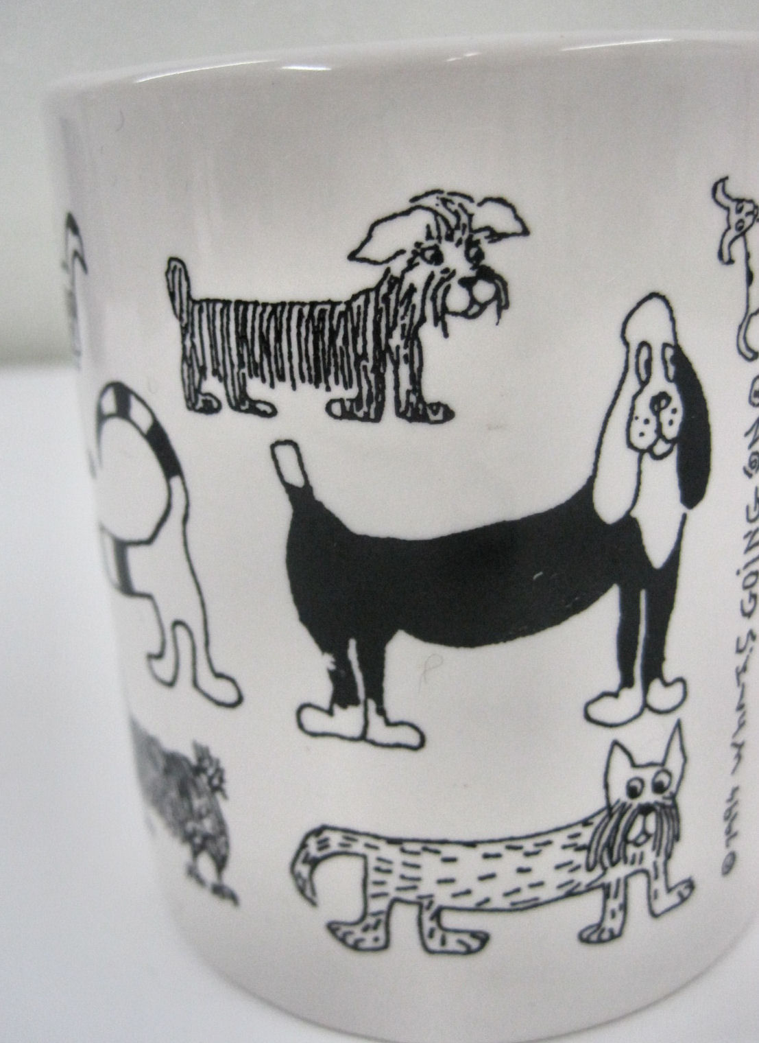 Dog Lovers Black White Coffee Cup Whats Going On 1994 Cup Mug Puppy Pooch Pups