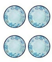 "Blue Starfish and Shells Melamine 8.5"" Salad Dessert Appetizer Plates Se... - $34.53"