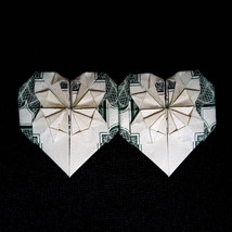 Origami DOUBLE HEARTS Valentine's Day Art Money Gift Handmade out of Rea... - $9.99