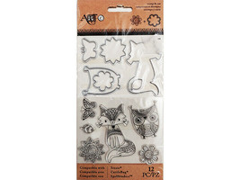 Art-C Stamp and Die Set, Stylized Fox, Owl, and Flowers 12 Pieces