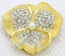 VTG BSK B.S.K. Signed Gold Tone Clear Rhinestone Faux Pearl Pansy Flower... - $33.66