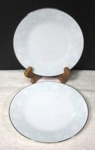 Noritake Ravel #2213 1972-1982 White Flowers W Blue Bread Butter Cake Plate 2PC - $19.80