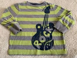 Jumping Beans Green Gray Striped Guitar Rock Long Sleeve Shirt 2T - $5.00