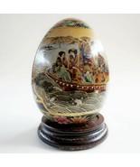 "Antique/vintage SATSUMA China Japan 4.375"" Hand Painted Porcelain Egg Asian - $59.39"