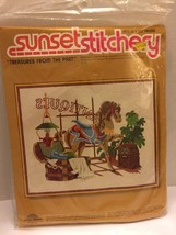 Sunset Embroidering Kit Treasures From The Past 1978 Vintage New Rare - $14.01
