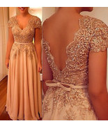 Cap Sleeves V Neck Long Prom Dresses Mother of Bride Dress with Applique... - $179.99
