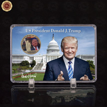 WR Donald Trump 2017 Presidential Novelty Metal Gold Challange Coin Phot... - $9.50
