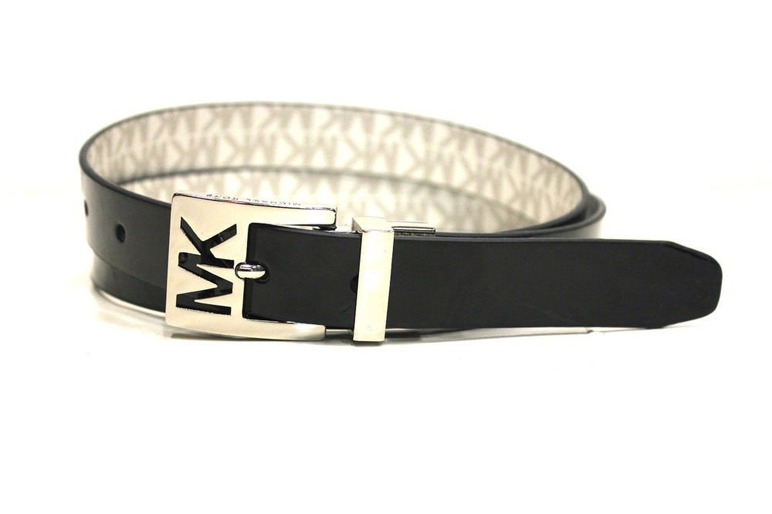 Michael Kors Women's Premium  MK Logo Reversible Belt Black Vanilla 552501