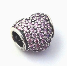 Authentic Pandora Sterling Silver Pave Heart Pink Crystal Charm 791052PCZ New - $53.19