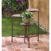 Triple Folding Planter Stand Weathered Wood and Rustic Finish  - $51.95