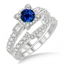 1.5 Carat Sapphire and Simulated Diamond Vintage floral Bridal Set Silver  - $99.99