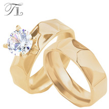 Tl American Standard Golden Plated Pair Rings Engagement Wedding Ring Wo... - $14.68