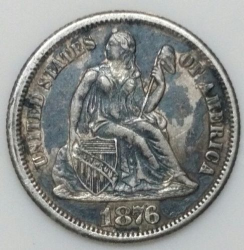 1876CC Seated Dime Silver 10¢ Coin Lot# E 30