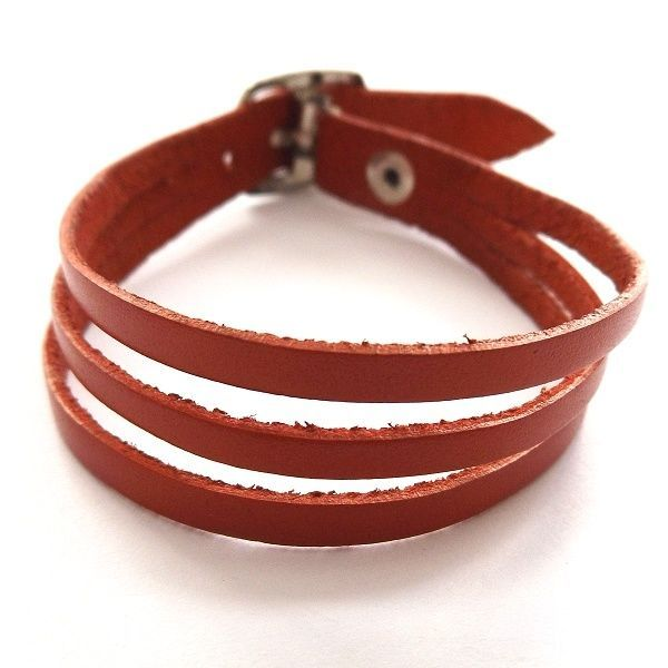 RED QUALITY THREE STRAP BANDED SOFT LEATHER BRACELET CUFF WITH BUCKLE FASTENER