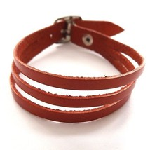 RED QUALITY THREE STRAP BANDED SOFT LEATHER BRACELET CUFF WITH BUCKLE FA... - $10.08