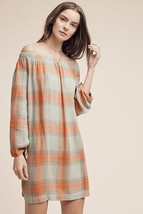 New Anthropologie Off-the-Shoulder Plaid Tunic by Cloth & and Stone $138 SMALL - $49.50