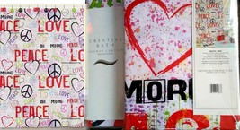 Heart Graffiti Shower CURTAIN-CREATIVE Bath Red Purple Peace Sign Love Hippee - $29.67