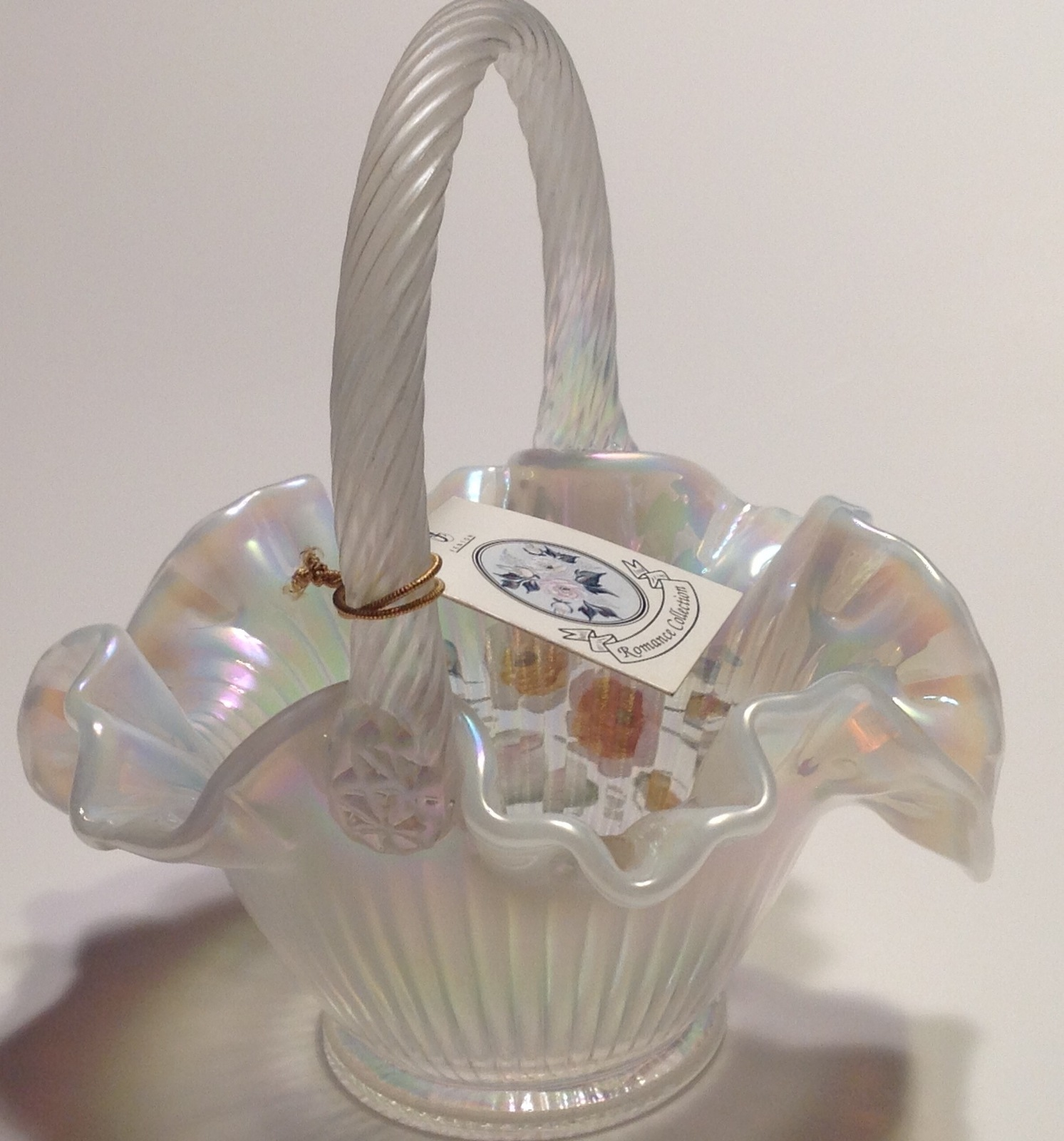 Fenton Opalescent Glass Basket Artist Signed Mackay Hand Painted image 3