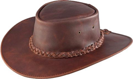 Henschel Waxed Cowhide Leather Cowboy Hat  Aussie Crown Made In USA Blac... - $74.00