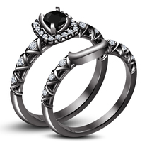 Black Rhodium Fn 925 Silver Round Cut CZ Bridal Engagement Ring Set Free Shipp - $85.40