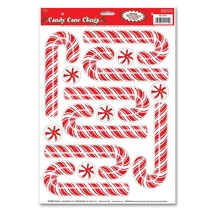 Beistle PEPPERMINT CANDY CANE CLINGS Christmas Craft Window Mirror Stick... - $3.89