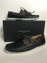 New Men's Kenneth Cole New York Black Brown Boat Shoes On The List Leath... - $39.59