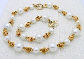 VTG Gold Tone ANNE KLEIN Ivory Colored Pearl Necklace Choker Bracelet Set - $74.25