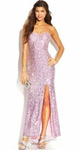 Junior's Jump Apparel 3/4 Long Strapless Wedding Gown dress Party Pink S... - $68.31