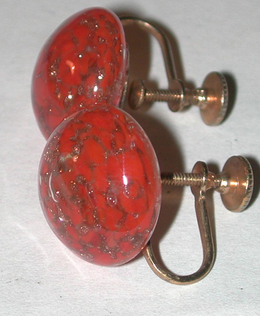 Vintage Venetian Art Glass earrings screwback orange/coral color