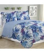 3 Piece Quilt Set Blue Floral Beds & Blankets Comforters - $54.98