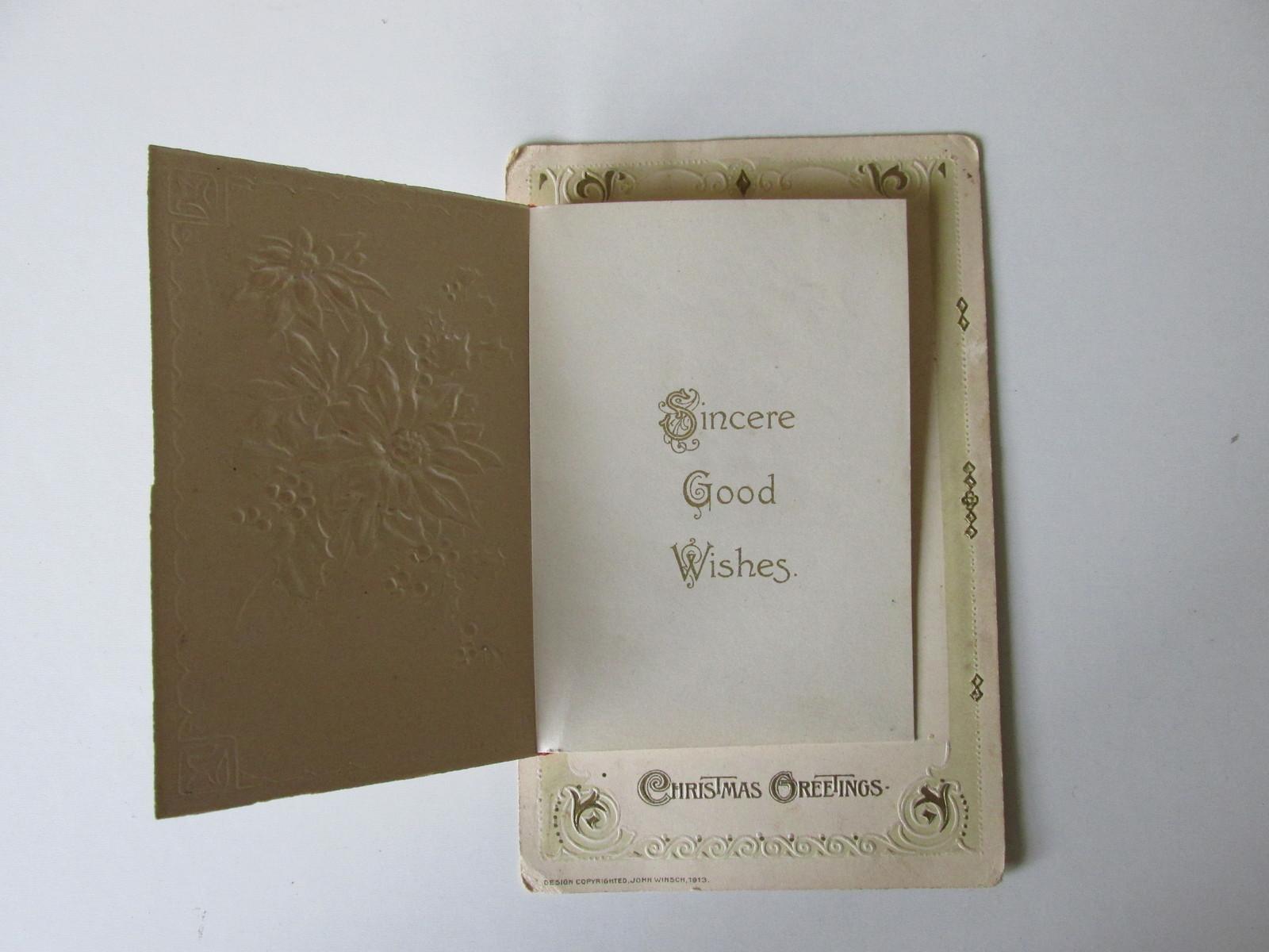 Vintage Christmas Postcard Booklet , Red Ribbon & Poinsettias, John Winsch-1913
